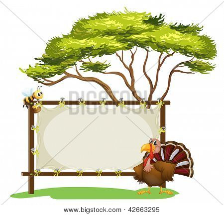 Illustration of a notice board, a bird and a honey bee on a white background