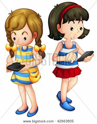 Illustration of two girls holding a gadget on a white background