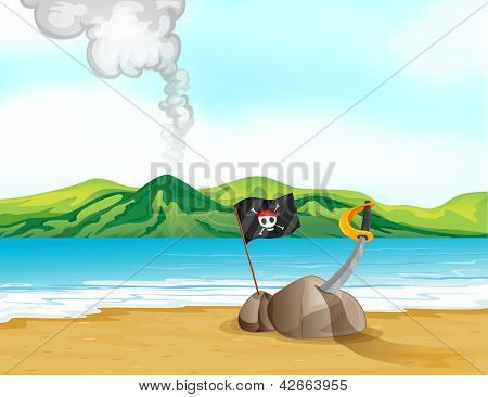 Illustration of a volcano in the beach