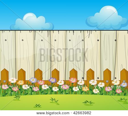 Illustration of a backyard with flowers