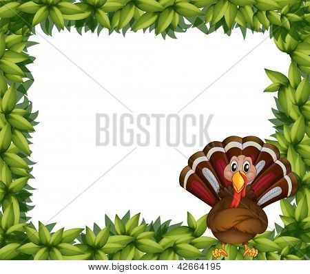 Illustration of a leafy border with a turkey on a white background