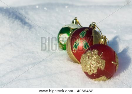 Christmas Decorations On Snow