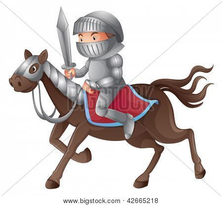 Illustration of a solder riding a horse on a white background