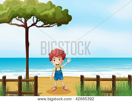 Illustration of a boy at the seashore