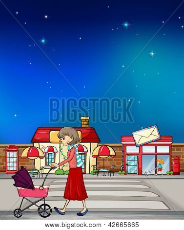 Illustration of a woman walking along the road with a pink pushcart