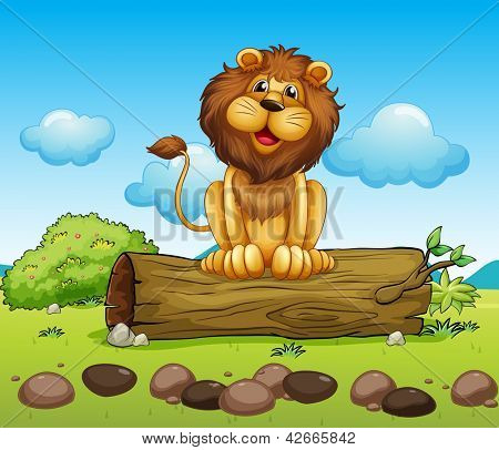 Illustration of a happy lion on a trunk of a tree