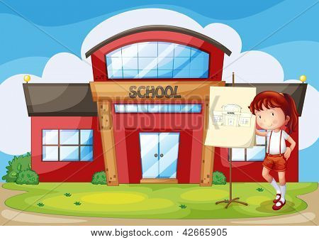 Illustration of a smiling girl standing in front of a school