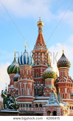 The Cathedral Of Saint Basil The Blessed At The Red Square Of Russia In Moscow