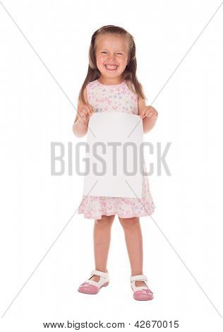 winks girl with blank sheet paper isolated