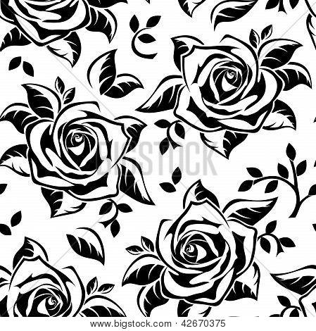 Patrones sin fisuras con siluetas negras de rosas. Ilustración del vector.