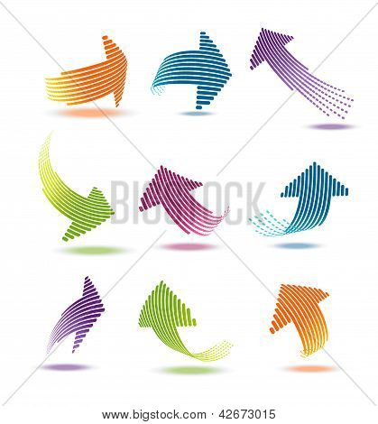 Arrows with lines vector illustration set