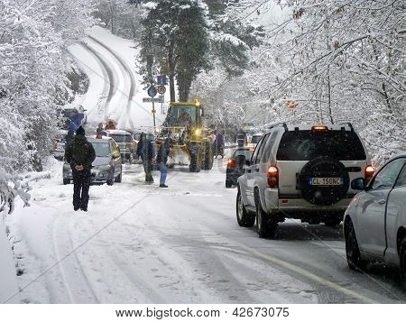 Heavy Snow Road Block