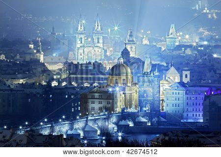 View Of Prague City With Charles Bridge