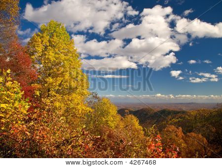 Mountain Overlook Landscape During Fall Foliage