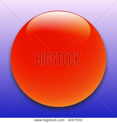 Red Glossy Ball Blue Background