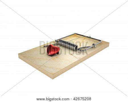 Mousetrap And Heart, Isolated On White Background