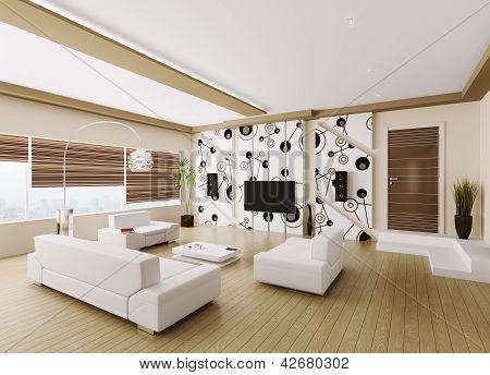 Modern Living Room Interior 3D
