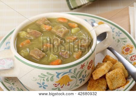 Cup Of Ham And Pea Soup