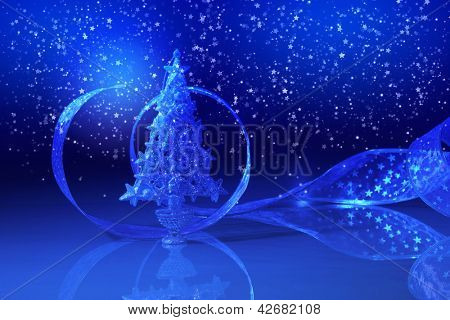 Blue Christmas collage. Decorations and ribbons on a blue background