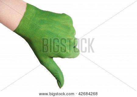Green Hand With Thumbs Down