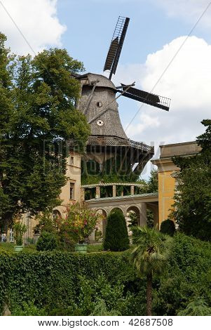 Old windmill in garden