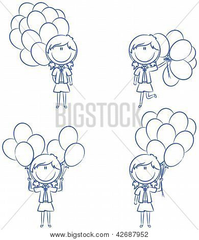 Cute Girls With Color Balloons