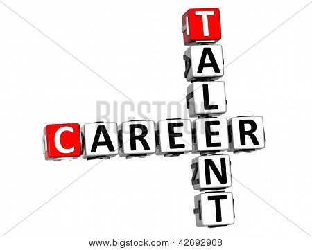3D Talent Career Crossword On White Background