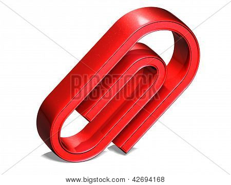 3D Clip Red Sign On White Background