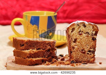 Sliced cake with raisins