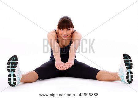 Happy caucasian woman exercising isolated over white background