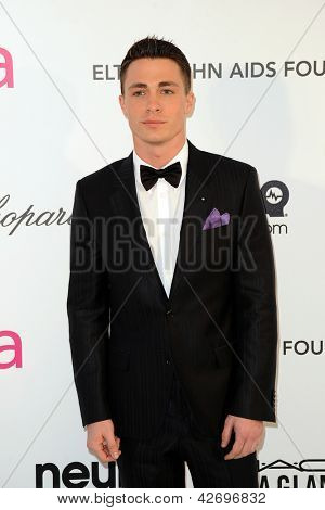 LOS ANGELES - FEB 24:  Colton Haynes arrives at the Elton John Aids Foundation 21st Academy Awards Viewing Party at the West Hollywood Park on February 24, 2013 in West Hollywood, CA
