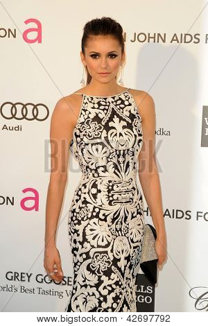LOS ANGELES - FEB 24:  Nina Dobrev arrives at the Elton John Aids Foundation 21st Academy Awards Viewing Party at the West Hollywood Park on February 24, 2013 in West Hollywood, CA