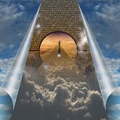 Sky splits open showing man on spiritual journey