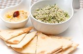 image of tabouleh  - fresh traditional arab taboulii couscous with hummus - JPG