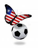 Concept - Butterfly With Liberia Flag Flying Near The Ball, Like Football Team Playing