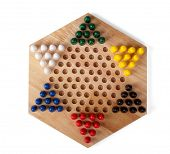 picture of chinese checkers  - chinese checkers wooden on the white background it is isolated - JPG