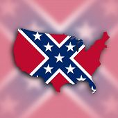stock photo of flag confederate  - Country shape outlined and filled with the flag Confederate flag - JPG