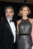 LOS ANGELES - FEB 24:  George Clooney, Stacy Keibler arrive at the 85th Academy Awards presenting th