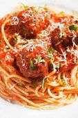 Meatballs with tomato sauce and spaghetti pasta, selective focus