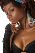 stock photo of anorexic  - Beautiful young black african adult woman in black lingerie isolated on a white background - JPG