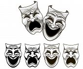 stock photo of comedy  - Tragedy and comedy theater masks set in cartoon style - JPG