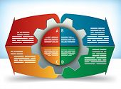 Cog Diagram presentation or brochure template with four component parts and text boxes in different