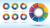 stock photo of pie  - Segmented and multicolored pie charts set from two to eight divisions - JPG