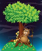pic of buck teeth  - Illustration of a beaver under a big tree - JPG