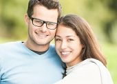 stock photo of pullovers  - Portrait of beautiful romantic couple - JPG