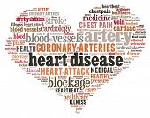 stock photo of coronary arteries  - Heart disease in word collage - JPG
