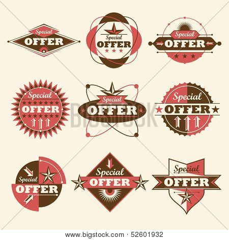 Set of special offer labels. Vector illustration.