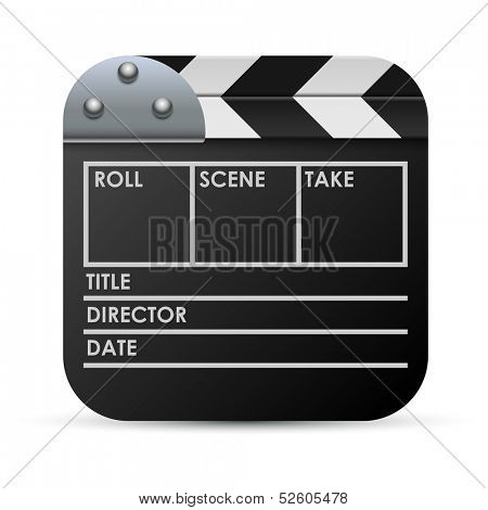 Movie clapboard vector icon isolated on white background.