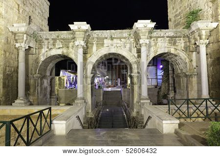 ANTALYA, TURKEY - OCTOBER 12: Night view to Hadrian Gate in Antalya, Turkey on October 12, 2010. Gate was built to commemorate a visit by the emperor Hadrian in 130 CE