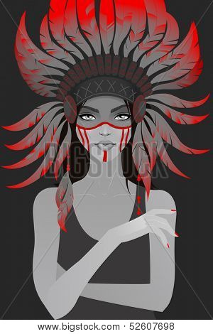 Beautiful girl in a headdress of feathers. Vector illustration